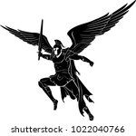 archangel holy war mid air | Shutterstock .eps vector #1022040766