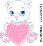 cute teddy bear holds pink love ...   Shutterstock .eps vector #1022045056