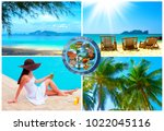 the holiday time  summer  beach ... | Shutterstock . vector #1022045116