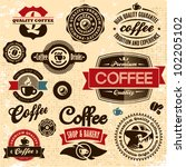 coffee labels and badges. retro ... | Shutterstock .eps vector #102205102