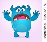 cute furry blue monster. vector ... | Shutterstock .eps vector #1022054872