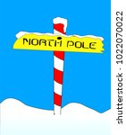 a sign at the north pole with... | Shutterstock . vector #1022070022