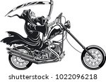 grim reaper with scythe riding... | Shutterstock .eps vector #1022096218