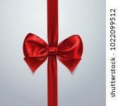 red bow and ribbon. silk  satin ... | Shutterstock .eps vector #1022099512