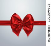 red bow and ribbon. silk  satin ... | Shutterstock .eps vector #1022099926