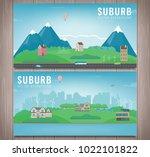 suburban landscape. cityscape... | Shutterstock .eps vector #1022101822