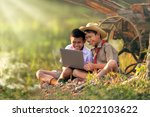 rural students study on the...   Shutterstock . vector #1022103622