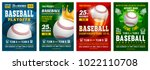 set of baseball posters with... | Shutterstock .eps vector #1022110708