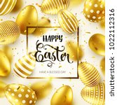 easter golden egg with... | Shutterstock .eps vector #1022112316