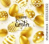easter golden egg with... | Shutterstock .eps vector #1022112322