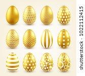 easter golden egg. traditional... | Shutterstock .eps vector #1022112415