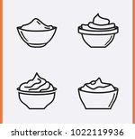 bowl sauce for mayonnaise ... | Shutterstock .eps vector #1022119936
