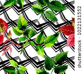 leaves of rose pattern in a... | Shutterstock . vector #1022131552