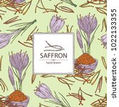 background with saffron  flower ... | Shutterstock .eps vector #1022133355