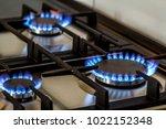 natural gas burning on kitchen... | Shutterstock . vector #1022152348