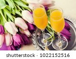 two glasses of mimosa cocktail  ... | Shutterstock . vector #1022152516