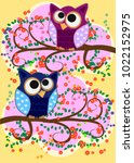 happy family of owls on... | Shutterstock .eps vector #1022152975
