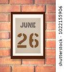 june 26th. 26 june calendar on... | Shutterstock . vector #1022155906