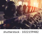 dumbbell with rack for workout... | Shutterstock . vector #1022159482