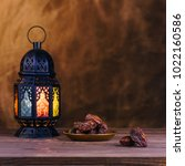 ramadan concept. dates close up ... | Shutterstock . vector #1022160586