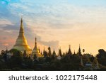 shwedagon pagoda at sunset ...   Shutterstock . vector #1022175448