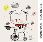 cute baby bear on bicycle... | Shutterstock .eps vector #1022182918