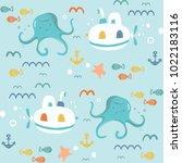 underwater creatures.cute... | Shutterstock .eps vector #1022183116