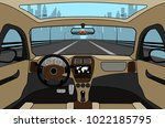 car on the road  a view from... | Shutterstock .eps vector #1022185795