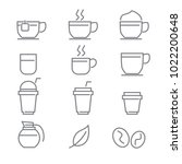 coffee icons with white... | Shutterstock .eps vector #1022200648