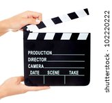 movie clapperboard   isolated... | Shutterstock . vector #102220222