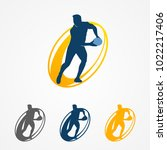 rugby 7 logo. sevens icon.... | Shutterstock .eps vector #1022217406