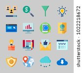 icons about seo with smartphone ... | Shutterstock .eps vector #1022218672