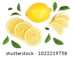 lemon and slices with leaf... | Shutterstock . vector #1022219758