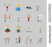icons about human with going up ... | Shutterstock .eps vector #1022220502