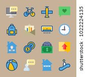 icons travel with currency ... | Shutterstock .eps vector #1022224135
