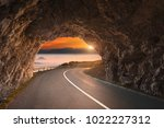 driving through old tunnel in... | Shutterstock . vector #1022227312