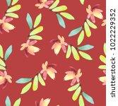 seamless spring watercolor... | Shutterstock . vector #1022229352