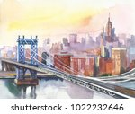 panoramic view of new york and... | Shutterstock . vector #1022232646