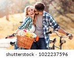 trendy young couple stop to... | Shutterstock . vector #1022237596