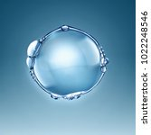 big water air bubble on a blue...   Shutterstock . vector #1022248546