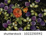 embroidery roses and clover... | Shutterstock .eps vector #1022250592