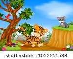 Stock vector vector illustration of tiger bird and raccoon with mountain cliff scene 1022251588