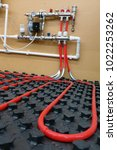 the floor heating system | Shutterstock . vector #1022253262