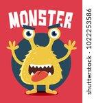 yellow monster screaming | Shutterstock .eps vector #1022253586