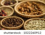different coffee forms  raw and ... | Shutterstock . vector #1022260912