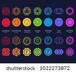 chakra symbols set on dark... | Shutterstock . vector #1022273872