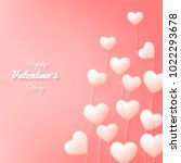 vector valentine and hearts... | Shutterstock .eps vector #1022293678