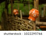clay vintage traditional pot on ... | Shutterstock . vector #1022295766