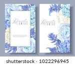 Stock vector vector botanical banners with blue peony hydrangea and fern floral design for natural cosmetics 1022296945