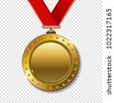 realistic 3d gold trophy... | Shutterstock .eps vector #1022317165